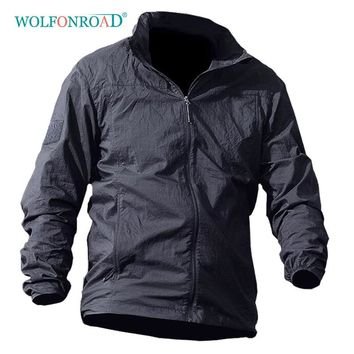 WOLFONROAD Summer Waterproof Quick Dry Skin Jacket Men Hooded Raincoat Thin Windbreaker Hiking Camping Army Military 5XL Jacket