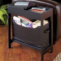 Side Storage Table with Bin Home Storage Furniture