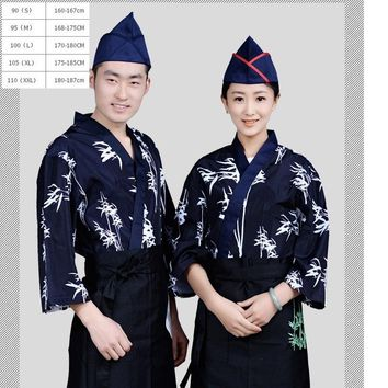 (1sets-Hat-Apron-Shirt)Japanese chef wear sushi kitchener overalls waiter kimono Hotel Restaurant Chef Uniform chief wear