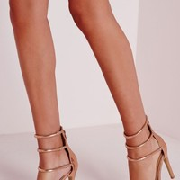Missguided - Four Strap Barely There Sandals Rose Gold