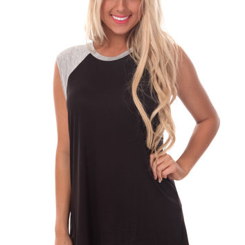 Black and Heather Grey Sleeveless Tee