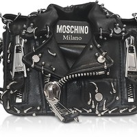Moschino Black Leather Biker Jacket Shoulder Bag
