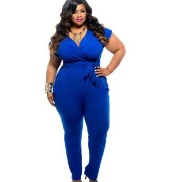 Plus Size Sexy V Neck Summer Jumpsuit 2018 Large Size Short Sleeve Woman Bodysuit Loose Overalls Romper For Lady Women Clothing