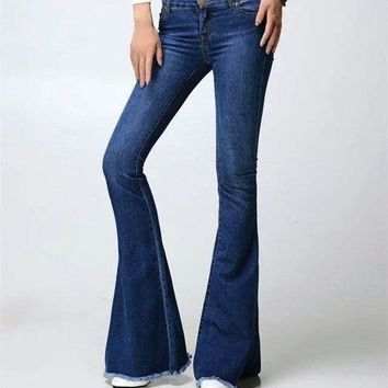 Free Shipping Fashion Female Mid Waist Bell Bottom Jeans Womens Boot Cut Denim Pants Vintage Wide Leg Flare Jeans 061801