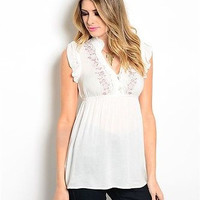 Women Fashion Off White Embroidered Top Blouse Shirt Empire Waist Casual