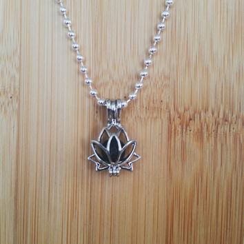 Lotus Flower Pendant Lava Rock Bead Essential Oil Aromatherapy Diffuser Necklace