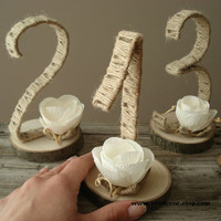 Rustic Table Numbers- 1 to 10, Wedding Table Numbers, Tree Slice Table Numbers, Rustic Table Decoration, Woodland Wedding- MADE TO ORDER
