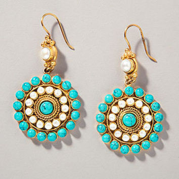 Turquoise Pearl Heirloom Earrings | Jewelry and Accessories  | World Market