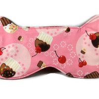 Sleep Mask, Eye Mask, Reversible, Cupcakes, Red and White Polka Dots, Cotton, Ready to Ship