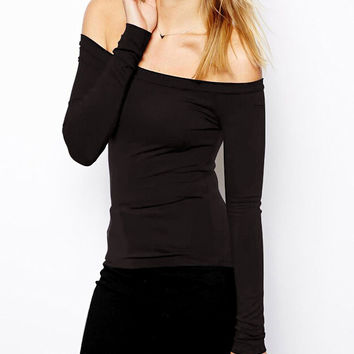 Black Off-shoulder Long Sleeve Bodycon Top