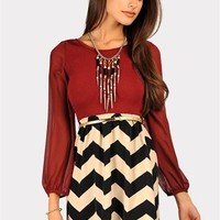 Pearl Puff Sleeve Dress - Maroon at Necessary Clothing