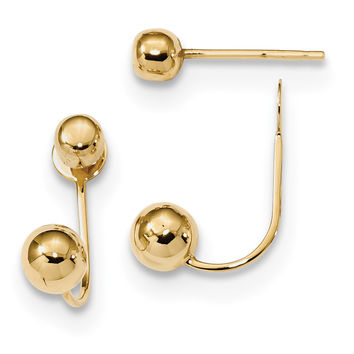 14k Polished 4mm/5mm Ball Front & Back Earrings TL1030