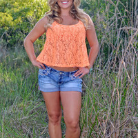Mango Orange western Lace tank top