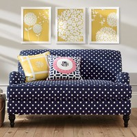 NAVY POLKA DOT ALSTON LOVESEAT