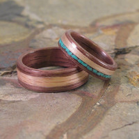 Turquoise Wedding Bands Walnut & Oak