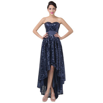 Real Photos Handwork Sequins Beaded Navy Blue Sexy High Low Prom Long Evening Dress Short Front Long Back Dresses Women CL6240 - BRIDESMAID DRESSES BRIDAL GOWNS PROM