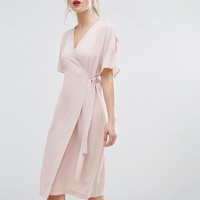 New Look Cold Shoulder Wrap Midi Dress at asos.com