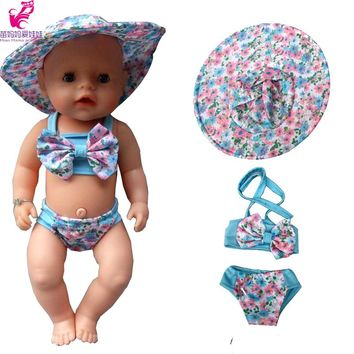 """3pcs/set summer set For 18"""" American Girl Doll Bikini + Cap summer Swimming Suit With Hat also fit for 43cm Baby born zapf dolls"""