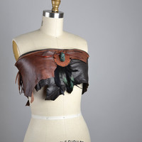 SUMMER SALE Strapless Leather Top - Leather Festival Top - Festival Clothing - Party Tops - Burning Man - Hippie - Leather Halter Tops