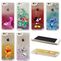 2016 NEW 3D Liquid Sparkle Cartoon The Little Mermaid Winnie Pooh Transparent Case Cover For iPhone 6 6S 6 PLUS 6S PLUS 7 7 PLUS