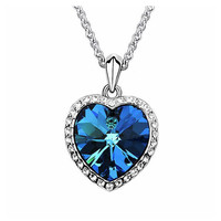 Blue Crystal from Swarovski Heart Pendant Necklace Birthday Party Masquerade Gift