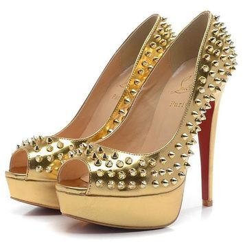 Christian Louboutin Fashion Edgy Plastic Nail Red Sole Heels Shoes
