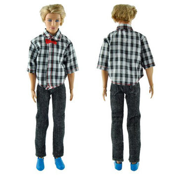 Casual Handmade Plaid Clothes Jacket Pants Outfits For Ken Barbie Doll