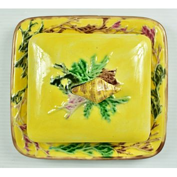 Vintage Painted Ceramic Butter Dish - Square