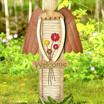 Garden Shutter Angel Unique Hang or Stake Wood & Metal Rustic Country Lawn Decor