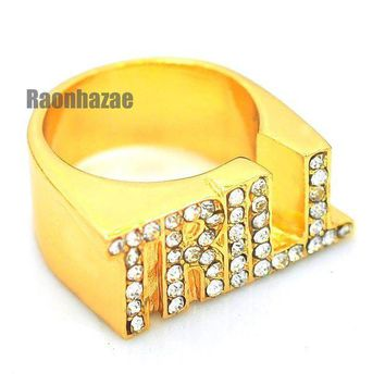 ESBA8C HIP HOP FASHION ICED OUT SOLID SWAG TRILL ENTERTAINMENT GOLD PLATED RING N007G