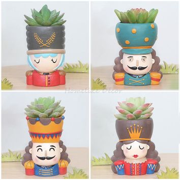 Nutcracker Doll Flowerpot Set - 4pcs Resin Succulent Plant Pot King Queen Design Flower Pot Fairy Garden Bonsai Planter