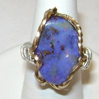 Wire Wrapped Blue Boulder Opal Ring Size 5