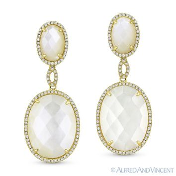 Mother-of-Pearl 0.44ct Round Cut Diamond 14k Yellow Gold Dangling Drop Earrings