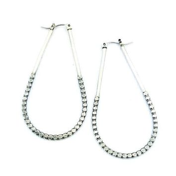 Tall Sterling Silver Droplet Hoops