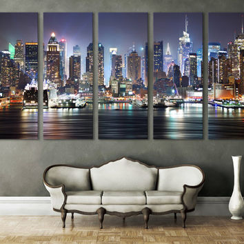 New York Cityscape Canvas Print Wall Art Multi Panel Wall Decor/ & Best New York Skyline Wall Decor Products on Wanelo