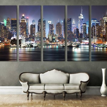 New York Cityscape Canvas Print Wall Art Multi Panel Wall Decor  New York  Skyline Photography. Best New York Skyline Wall Decor Products on Wanelo
