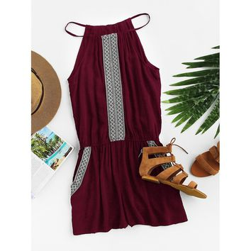 Rooftop Nights Embroidered Tape Detail Cami Romper - Burgundy