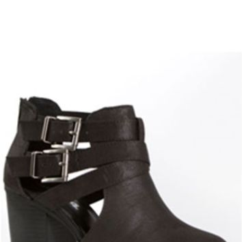 Soda Shoes Open Side Buckle Ankle Booties in Black SCRIBE-S-BLK