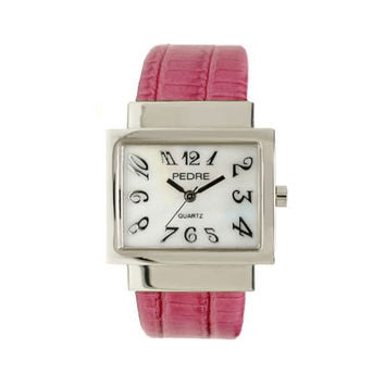 Pedre Glossy Pink Lizard-Embossed Genuine Leather Cuff Watch ***CLOSEOUT***