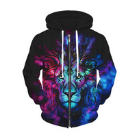 Raisevern New Zip-Up Hoodie 3D Digital The Lion King Funny Print Hooded Sweatshirts Women Men Harajuku Style Tops Sweats Outfits