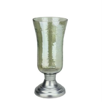 """15.5"""" Decorative Golden Luster Hurricane Pillar Candle Holder with Silver Base"""
