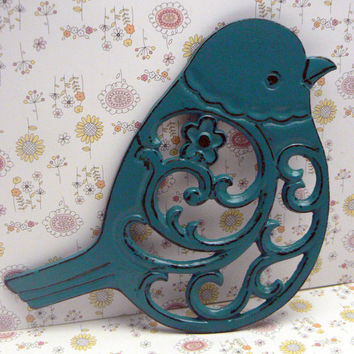 Bird Flower Cast Iron Trivet Hot Plate Teal Lagoon Blue Distressed Shabby Chic Ornate Swirly Chunky Bird Kitchen Country Chic Decor