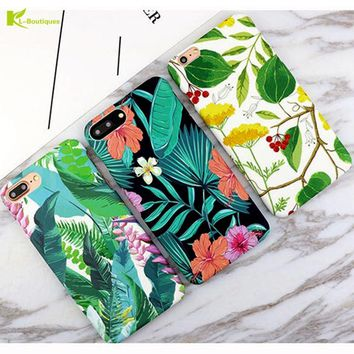 KL-Boutiques for Coque iphone 6 Case Tropical Plants Cartoon Banana leaves Hard Cover Fundas for iphone 7 6 6S Plus Cases Women