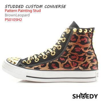 Studded Custom Converse Brown Leopard by SHOEDYcustom on Etsy