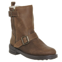 Office Lilo Buckle Biker Boots Brown Suede - Ankle Boots