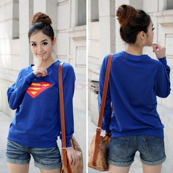 Women Superman Logo Print Round Neck Long Sleeves T-shirt 6170 One Size (Color: Blue) = 1745491908