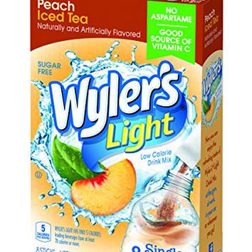 Wyler's Light Singles To Go Tea with Peach, Box of 8 packets (Pack of 12)