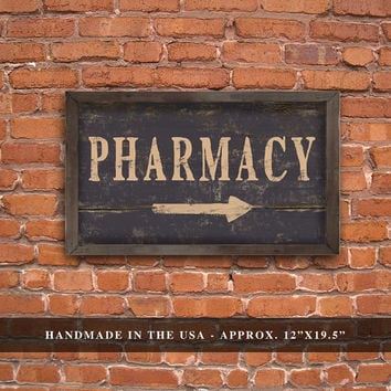 """Handmade Wood Distressed Looking Pharmacy Sign. Black.  Approx. 12""""x19"""" 2"""" Wood plaque framed out in wood.  Black distressed frame."""