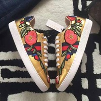 Gucci Fashion Women Men Flower Embroidered Leather Low Help Shoe Sneaker Gold I
