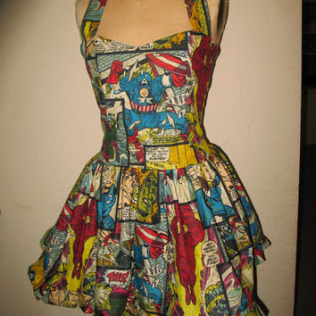 Custom Made to Order Avenger Captain America Hulk Spiderman Wolverine Super Hero SweetHeart Ruffled Halter Mini Dress